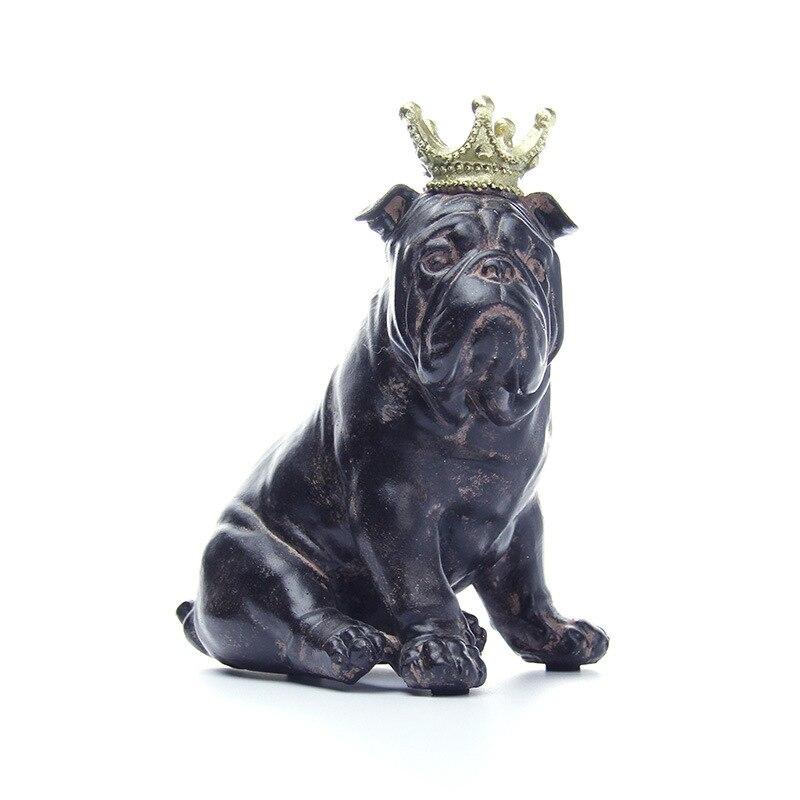 Continental Fashion Simulation Bulldog Dogs Cute Poodle Decoration Animals Pitbull Statue Creative Resin Artware Pet Dog L1823