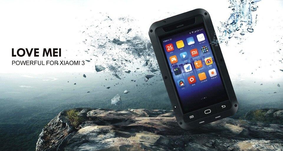 Original Powerful Case For Xiaomi 3 M3 Mi3 Waterproof Shockproof Aluminum Case C