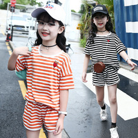 Outfit Children Clothing Set Summer Clothing Set for Girls Striped Tee with Shorts Kids Casual Suit Age 4 5 6 7 9 11 13