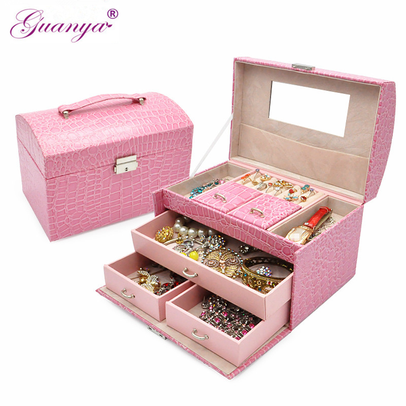 guanya Queen style factory outlets fine jewelry boxes Stylish PU leather necklace earings ring holder carrying