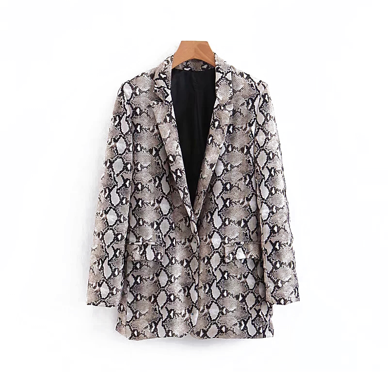 Snake Blazer Women 2019 Spring-Autumn Cardigan Suits Pockets Ladies Vintage Animal Print Blazers Jacket Linen Tops Sets Femme