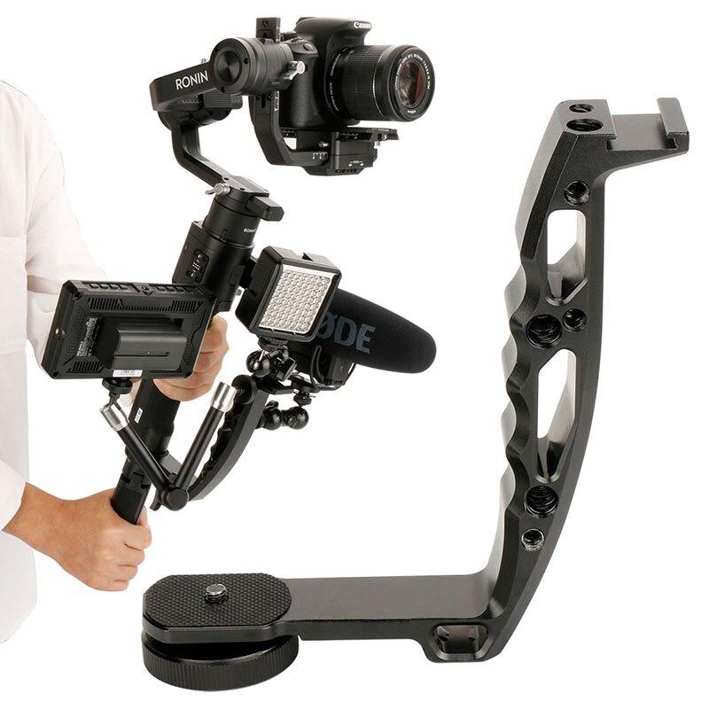 Gimbal accesorios L soporte Handle Grip con zapata 1/4 ''tornillo para Zhiyun Crane 2/V2 DJI ronin S estabilizador brazo mágico