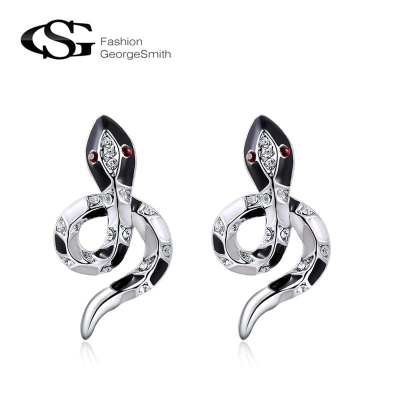 GS 2018 Summer Fashion Stud Pendientes para Las Mujeres Rosa de Oro Negro Serpiente Mujeres Pendiente Femenina Personalidad Animal Joyería Bijoux G5