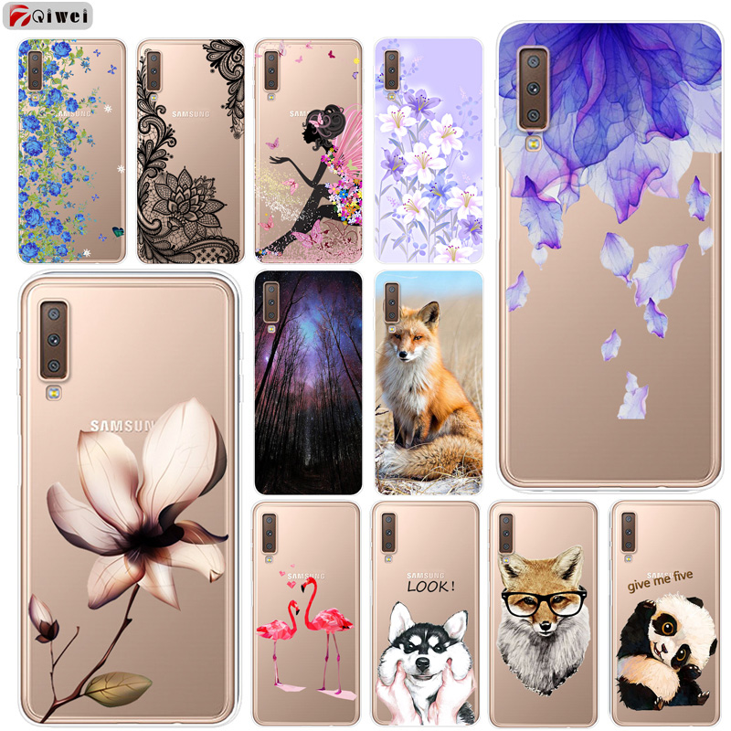 For Samsung A7 2018 Case Soft Clear Silicone Back Cover Print Phone Case  For Samsung Galaxy A7 2018 A 7 A750F A750 SM-A750F Case