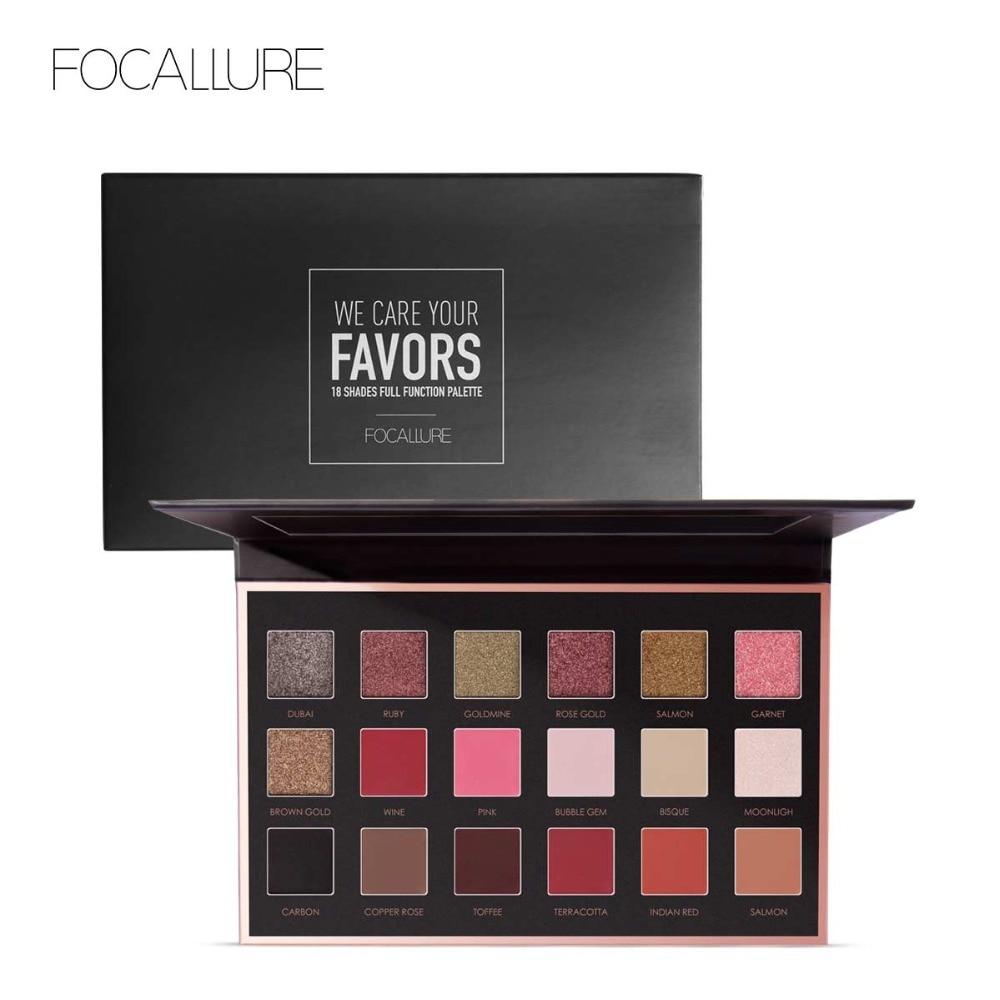 FOCALLURE Pro 18 Colors Glitter Matte Easy to Wear Warm Smokey Eye Shadow Palette Eyes Cosmetics Tools