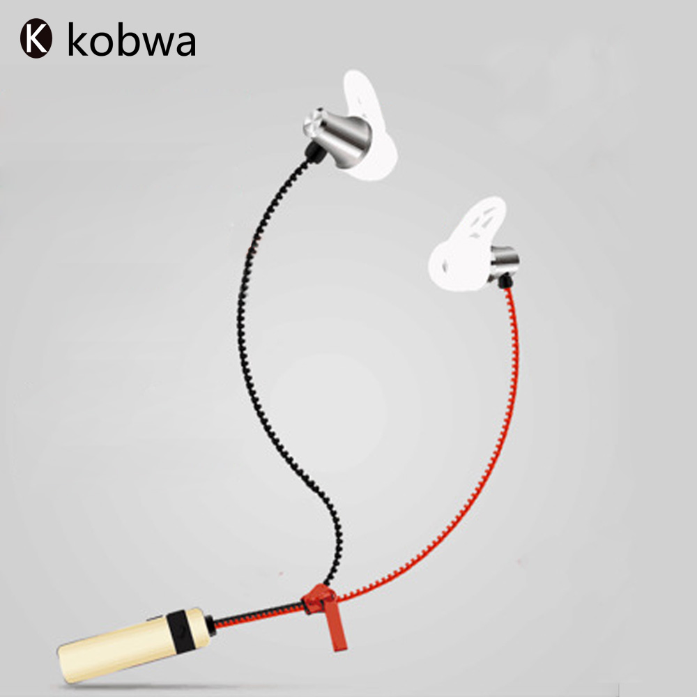 Kobwa 2017 In-Ear Bluetooth Headset Metal Zipper Sport Wireless With Mic Handfree Stereo Super Bass Earphone For iphone Samsung absolute stylish sport v4 1 q2 sound bass stereo bluetooth earphone wireless handfree with mic for phones