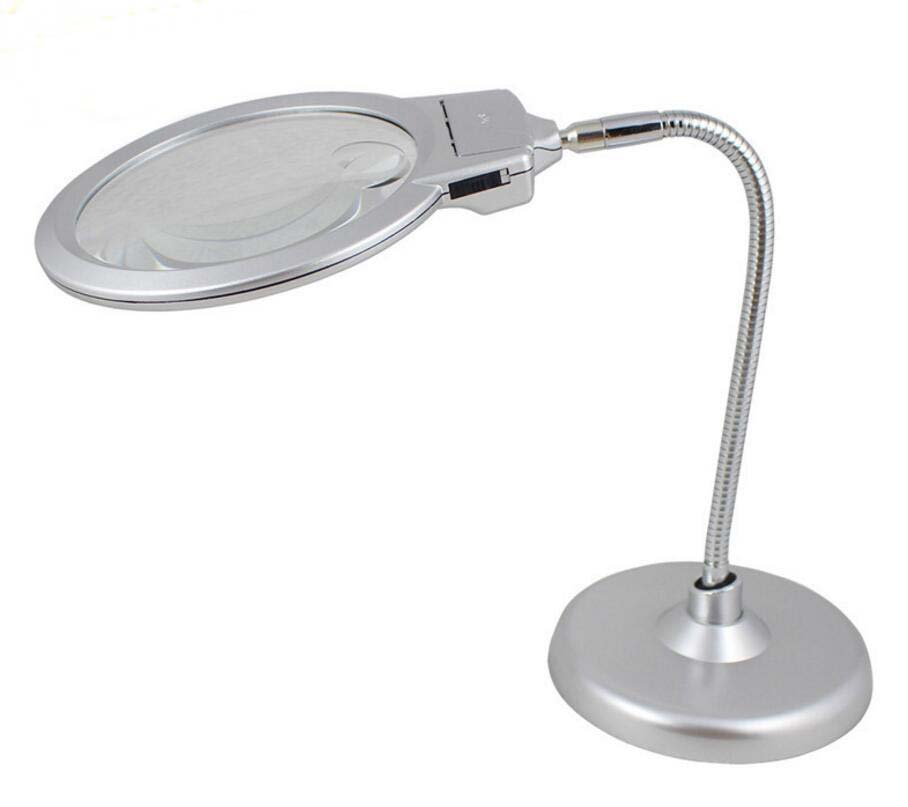 2X 6X Illuminated Reading Sewing Embroidery Magnifying Glass Desttop Table Magnifier for Watfch Cellphone Repair with LED Lamps new 2x 6x led bench magnifier with 2 led lamps desktop magnifying glass metal hose magnifier loupe