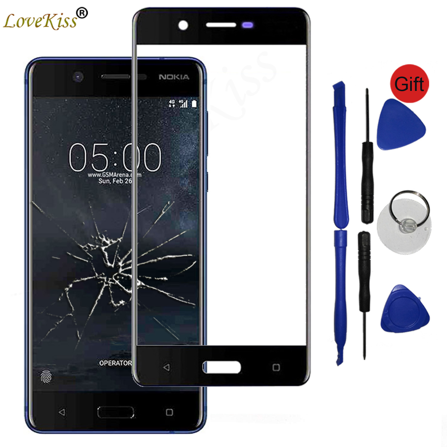 Front Panel For Nokia 2 3 5 6 7 Plus 8 X5 5.1 Plus Touch Screen Sensor LCD Display Digitizer Glass Cover Touchscreen Replacement