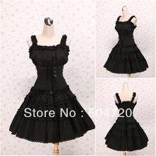 V-1127 Schwarze ärmellose baumwolle Süße Schule Lolita Kleid/viktorianischen kleid Cocktailkleid/halloween-kostüm US6-26