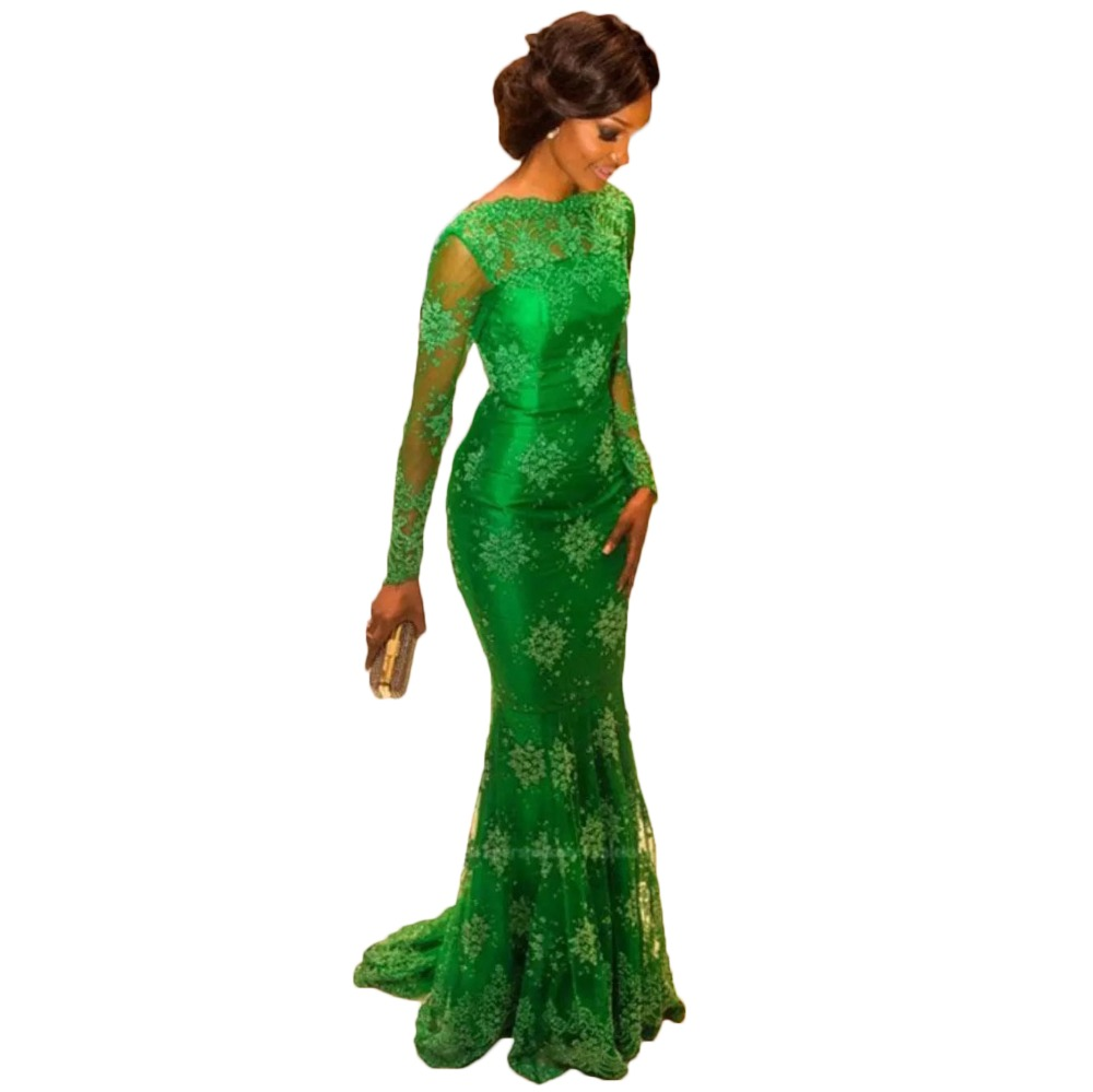 Alexzendra Scoop Neck Lace Mermaid Long   Evening     Dress   Customize Plus Size Long Sleeves Green Fashion Prom   Dress   Party   Dresses