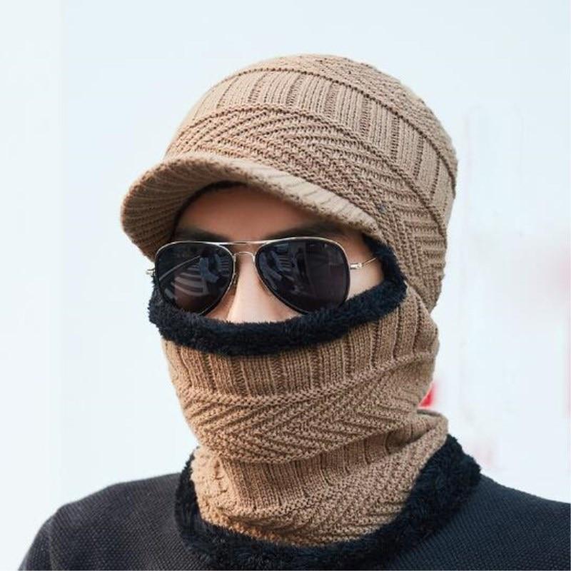 2018 New Balaclava Winter Women Men's Skullies Wool Knitted Balaclava Cap Ninja Mask Thermal Plush Pocket Hat Unisex Snow Cap