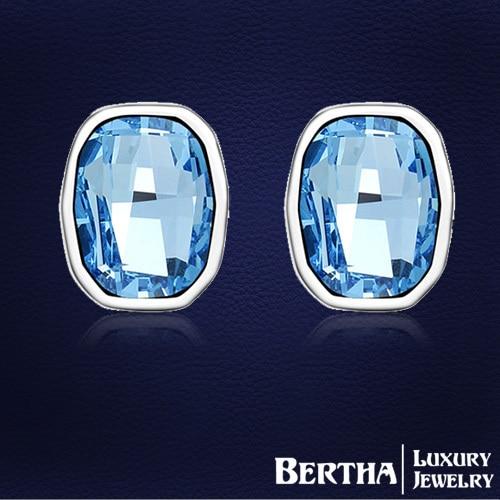Western Fashion Blue earings for women With Swarovski Elements crystal stud earring luxury Wedding Jewelry joyas Top Quality