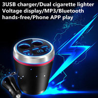 Three USB Mobile Phone One Tow Two Cigarette Lighting Car Charger Handsfree FM Transmitter MP3 Cup Bluetooth Car Charger Device