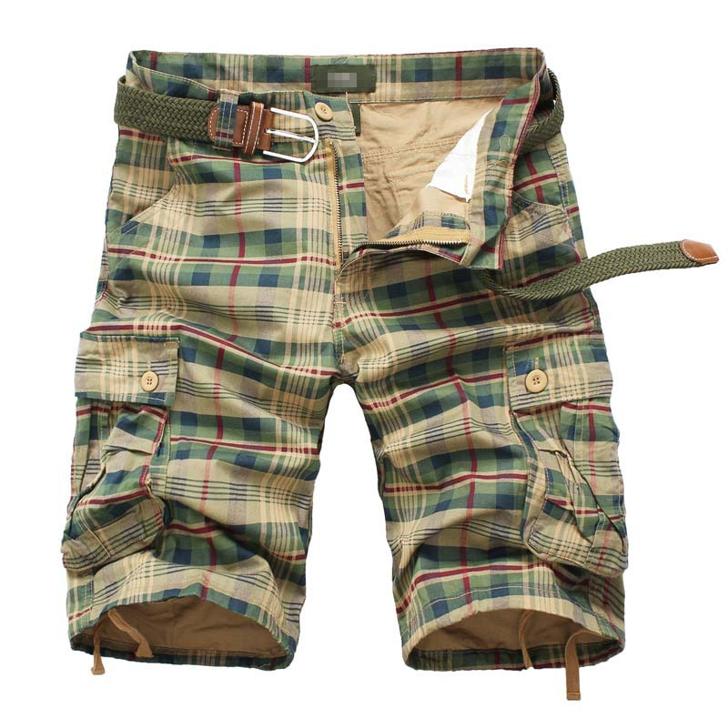 LILL 2018 Men Summer Cargo Shorts Plaid Multi-Pockets Casual Short Cotton Knee-Length Classic Bermuda Army Green No Belt XAA039