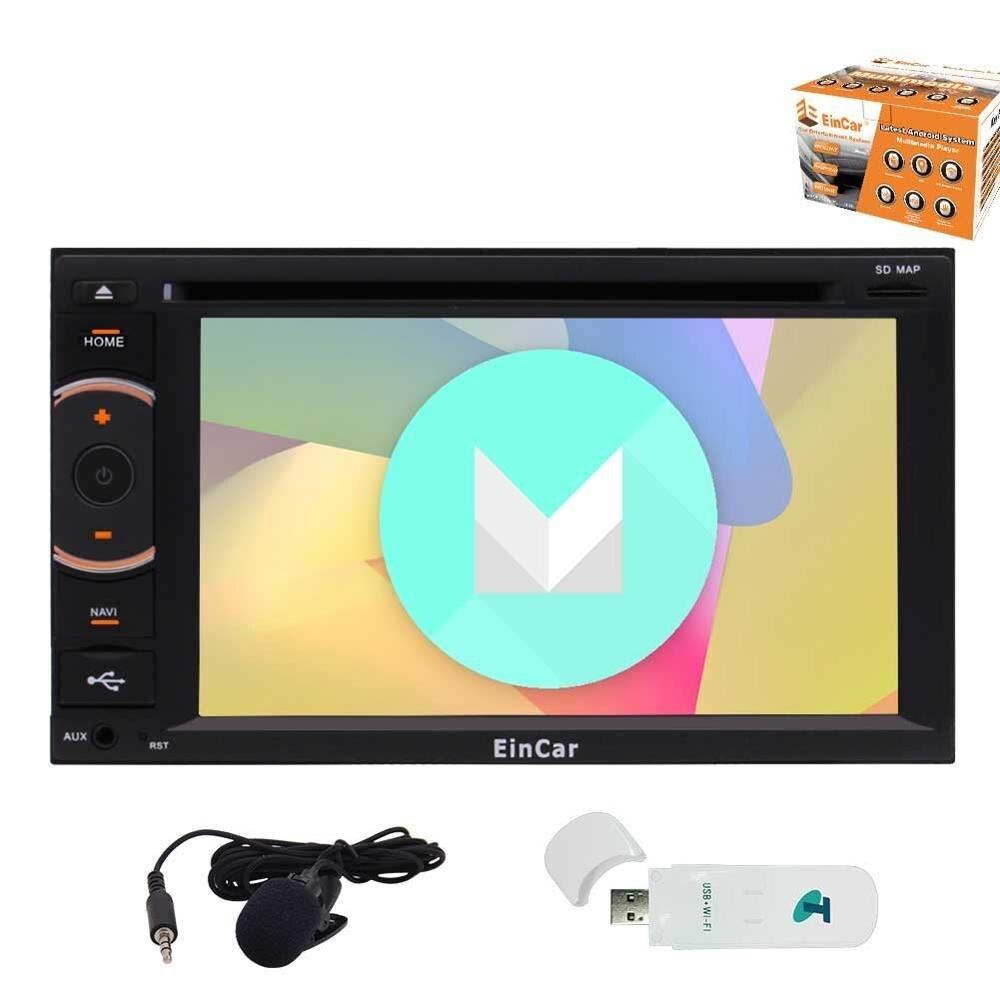 3g ключ включен! Android 6,0 четырехъядерный EinCar автомобильный стерео с сенсорным экраном 6,2 ''двойной автомобильный dvd плейер din с GPS НАВИГАЦИЯ