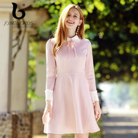 FINEWORDS Peter pan Collar Autumn Pink Dress Elegant Slim Party Dress Long Sleeve Vintage Harajuku Kawaii Cute Dresses vestidos