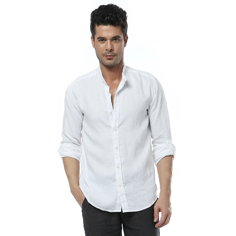 Мужская одежда весной и осенью небольшой стенд воротник с длинными рукавами рубашки белье мужской размер свободный плюс жидкость основной рубашка белый