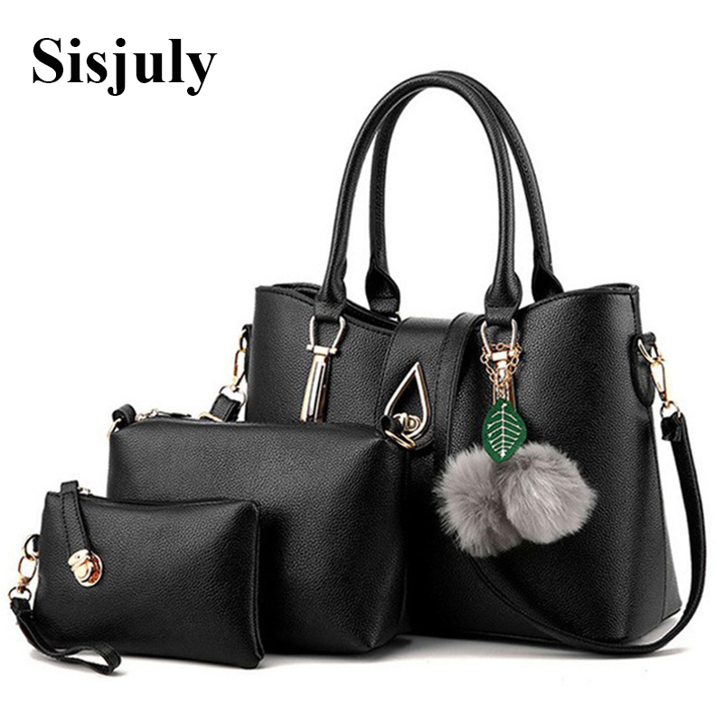 3Pcs Set 2016 New Winter Luxury Bag Female Leather Handbag Women Hand Bag Messenger Crossbody Bags Fur Casual Tote Sac a Main weiju new canvas women handbag large capacity casual tote bag women men shoulder bag messenger crossbody bags sac a main