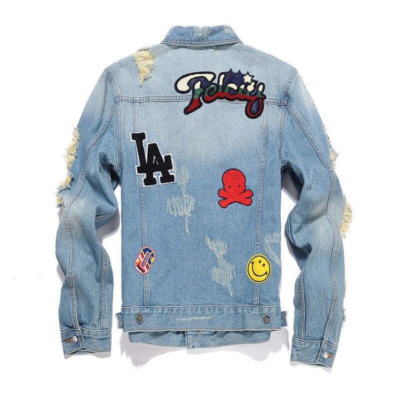 Aboorun 2018 Модные мужские Джинсовые куртки ретро патчи отверстия Slim Fit куртки для мужчин YC1111
