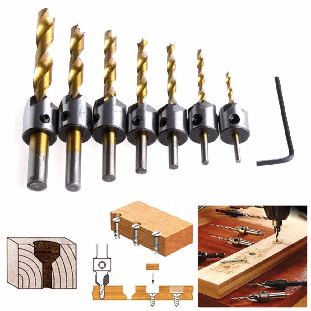 7Pcs 3-10mm Hss 5 Flute Countersink Drill Bit Set Reamer Woodworking Chamfer New сверло oem canmore 3 13 6 22 hss countersink drill bit chamfer