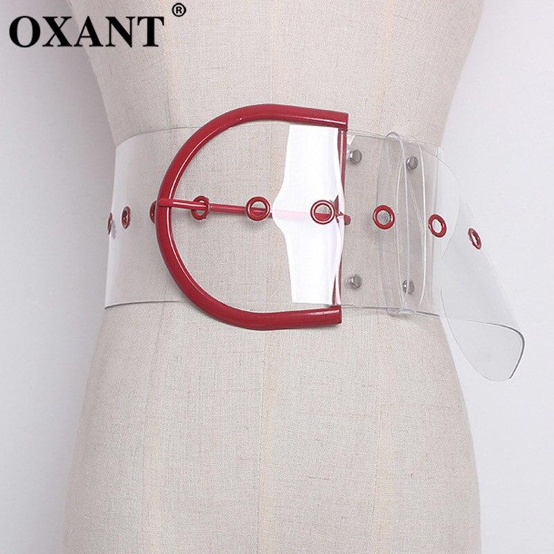 OXANT Transparent femelle évider anneau en métal taille haute large ceintures 2019 été femmes mode Harajuku vêtements