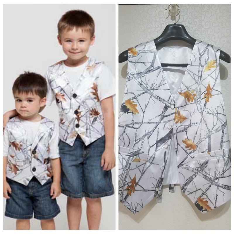 White Snowfall Camo Vest For Boy's Formal Wedding Wear 2021 Custom Kids Formal Real Tree Party Wear Camouflage Vest