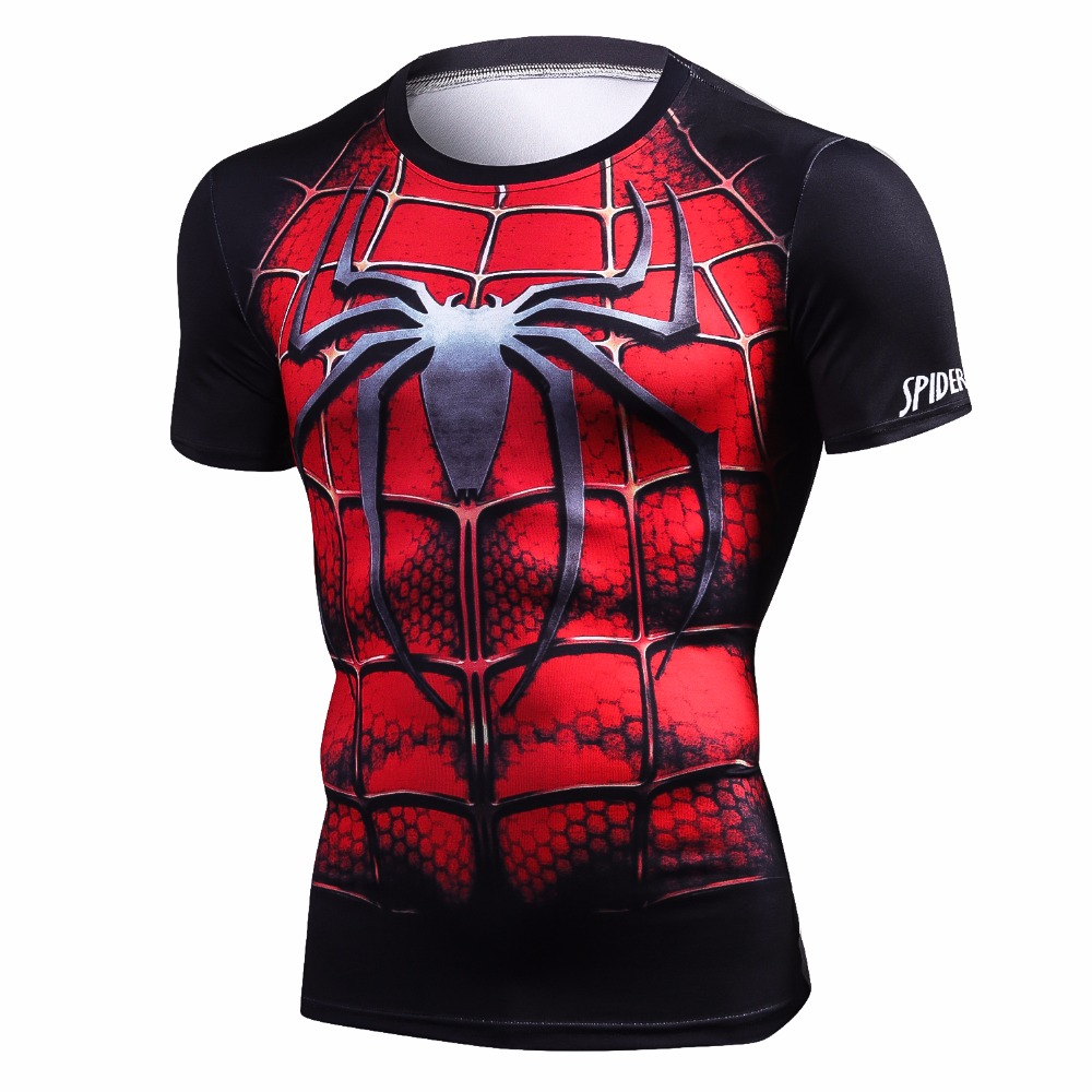 New Style Men Steel Beast Compression Shirt Spiderman Fitness Tights Short sleeves Tops Quick Dry t shirt