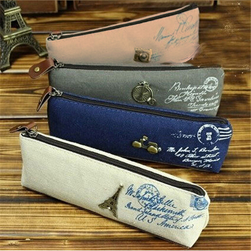Canvas Stationery Storage Pen Pencil Case Coin Purse Pouch Bag for School Office Supplies for Students