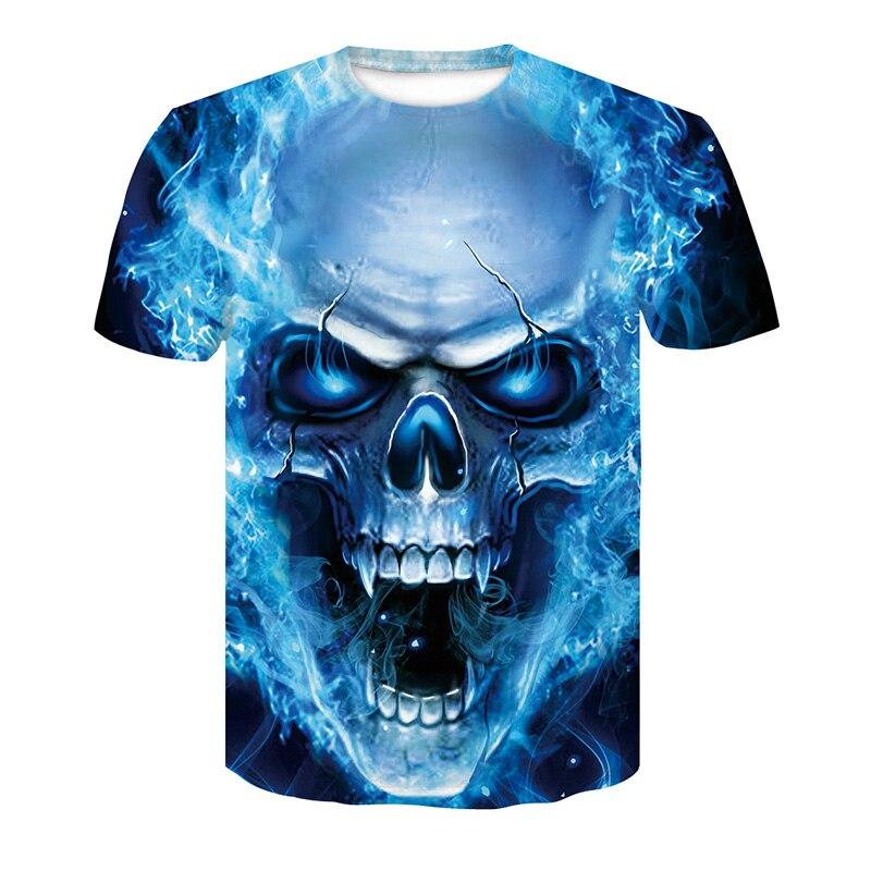 Uomini di Vendita caldi di Modo di Estate 3d stampa Del Cranio poker t shirt Da Uomo casual traspirante più il formato manica corta Hip hop tees top