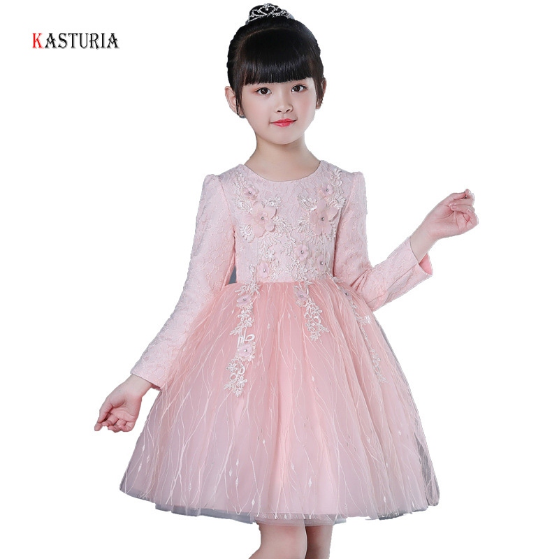 New kids dresses for girls long sleeve girls dress flowers unicorn party princess dress O-neck Teens clothes vampirina 3-12Y 2018 summer girls teens party dress petal sleeve o neck children kids dress for girl 12 years old lace net yarn princess dresses