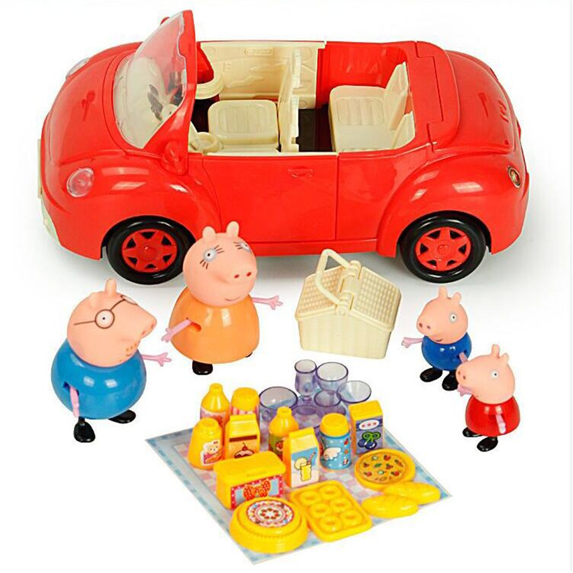 Original Doll Fashion Peppa Pig Red Sports Car Family Full Roles Action Figure Model For Kids
