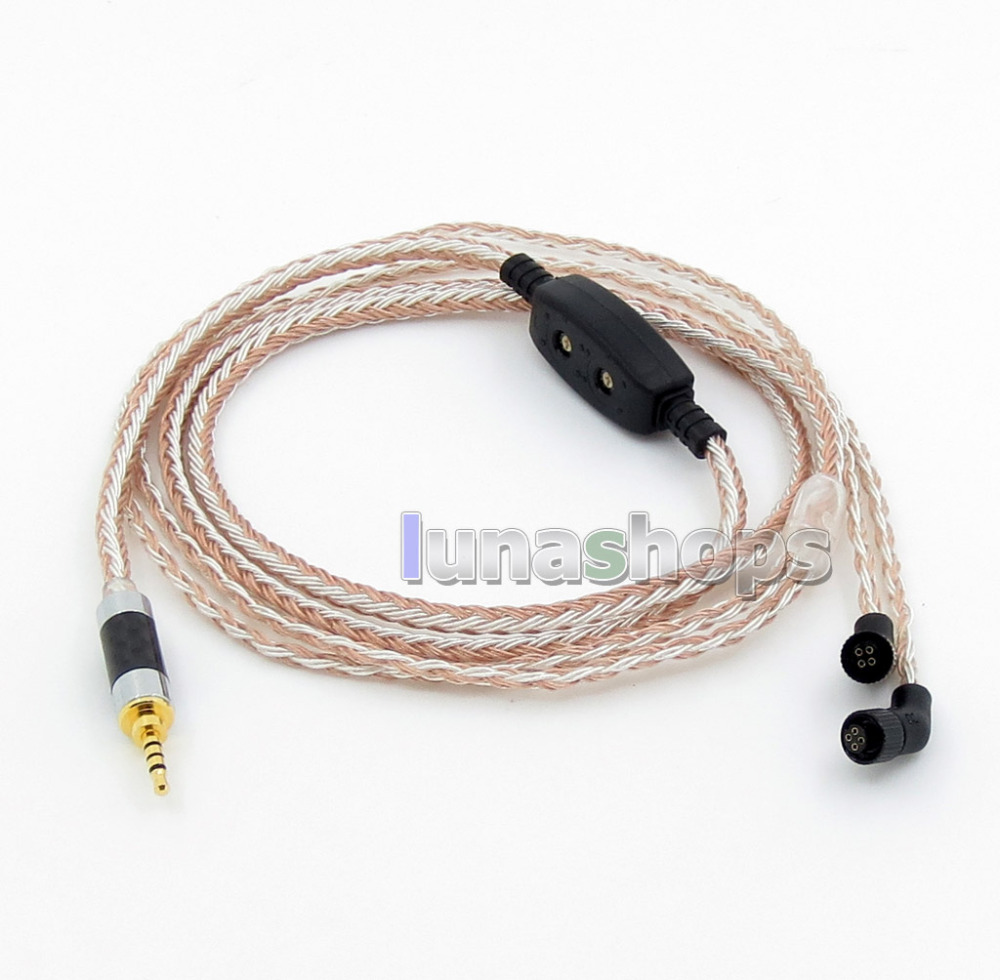 2.5mm 4pole TRRS Balanced 16 Core OCC Silver Mixed Headphone Cable For AKR03 Roxxane JH Audio JH24 Layla Angie AK380 AK2 frequency divider adapter for jh audio jh24 roxanne akr03 layla angie earphone pin 1pcs