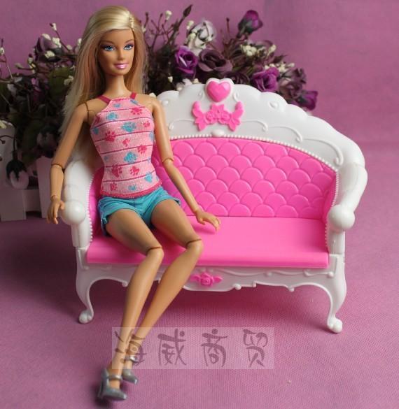 Hadiah kanak-kanak plastik sofa vintaj meja sofa sofa 6 item / Set - Anak patung dan aksesori - Foto 3