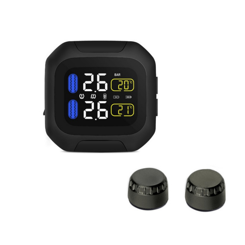 Motorcycle Tire Pressure Monitor,TPMS Super Waterproof Cordless High Precision Tire Pressure Alarm,Dust Proof LCD Screen,Real Time Monitoring and Tire Data Display