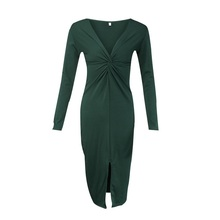Women's Long Sleeve Deep Plunge V Neck Party Dress Twist Front Bodycon Split Midi Dresses Female