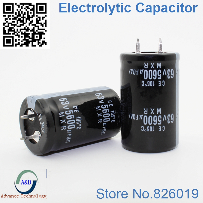 2pcs/lot 63V 5600UF Radial DIP Aluminum Electrolytic Capacitors Size 25*40 5600UF 63V Tolerance 20%