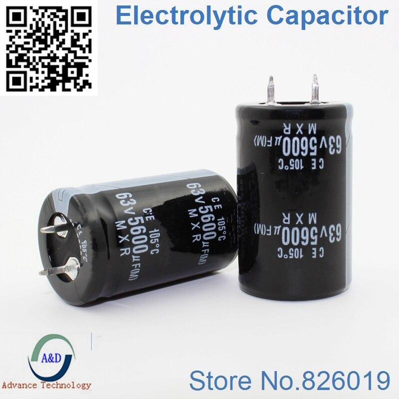 2pcs/lot 63V 5600UF Radial DIP Aluminum Electrolytic Capacitors Size 25*40 5600UF 63V Tolerance 20%