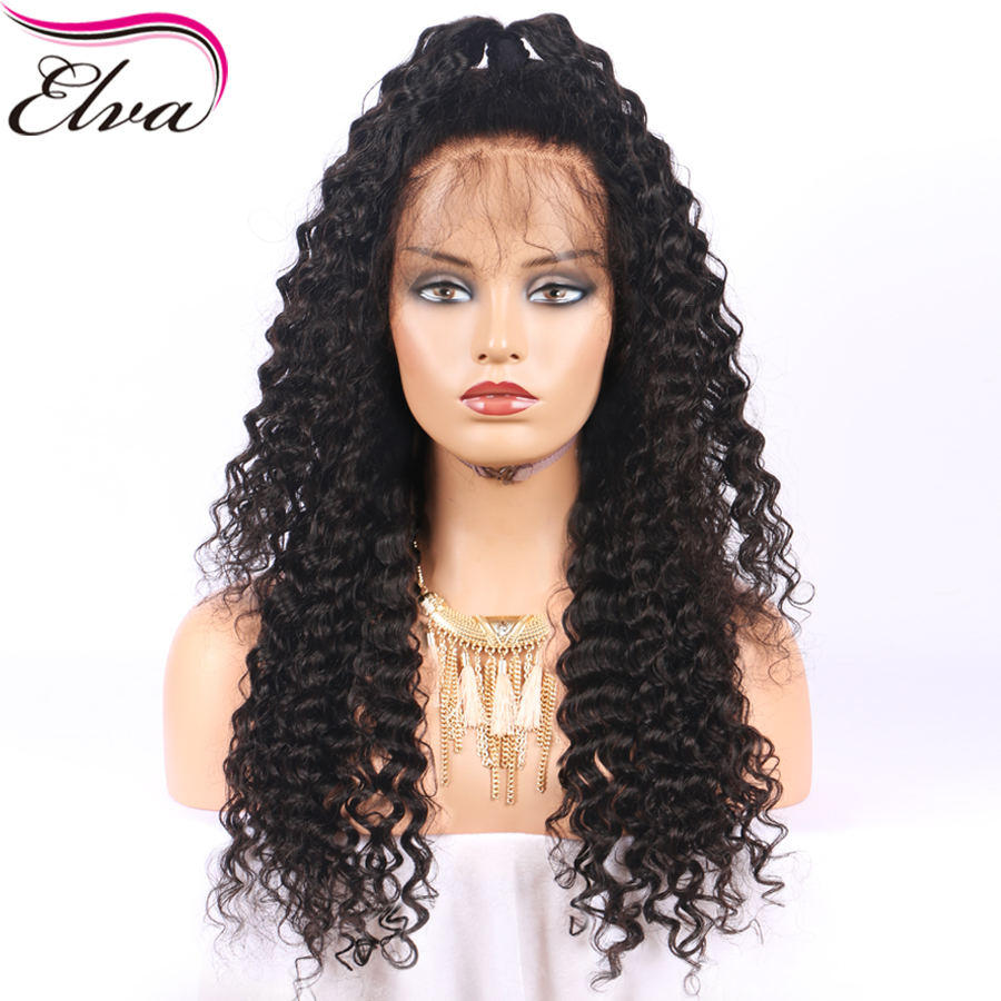 Elva Hair Lace Front Human Hair Wigs For Black Women Brazilian Remy Hair Curly Wigs Ponytail Pre Plucked Hairline With Baby Hair