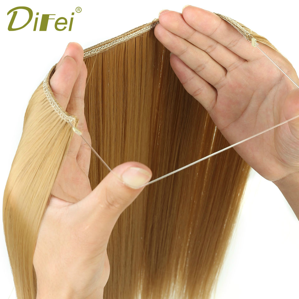 DIFEI 24 inches Women Fish Line Hair Extensions Black Brown Blonde Natural Wavy Long High Tempreture Fiber Synthetic Hairpiece(China)