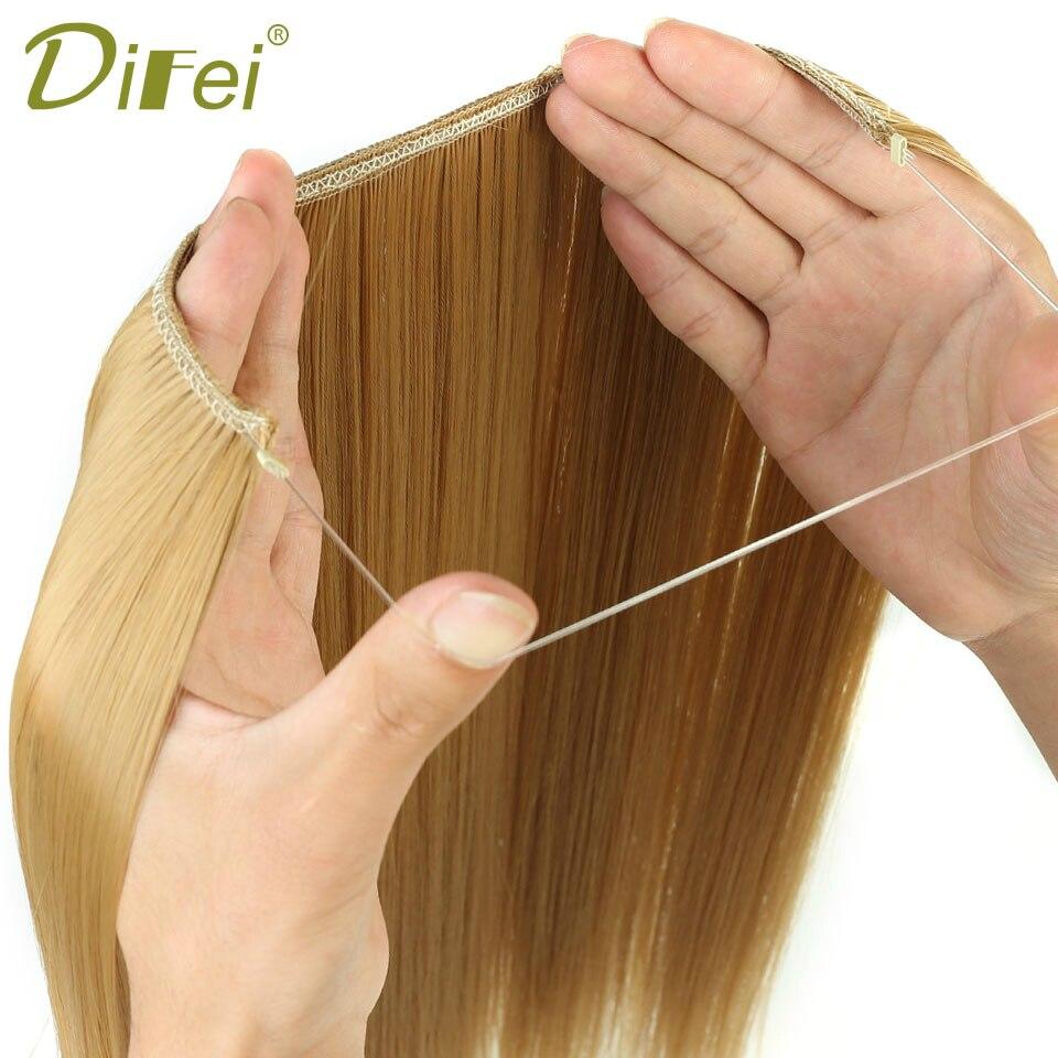 DIFEI 24 pouces femmes ligne de poisson Extensions de cheveux noir brun blond naturel ondulé longue température Fiber synthétique postiche