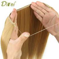 DIFEI 24 zoll Frauen Fisch Linie Haar Extensions Schwarz Braun Blond Natürliche Wellenförmige Lange Hohe Tempreture Faser Synthetische Haarteil