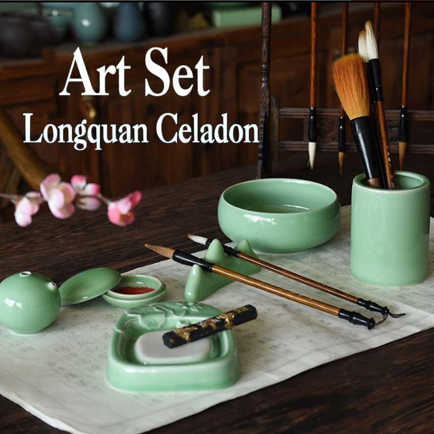 Chinese Ceramic Painting Supplies Art Set Longquan Celadon writing-brush washer Pen Holder Painting brush Art Set Gift