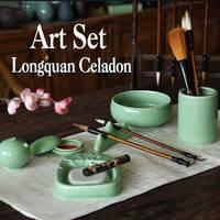 Chinese Ceramic Painting Supplies Art Set Longquan Celadon writing brush washer Pen Holder Painting brush Art Set Gift