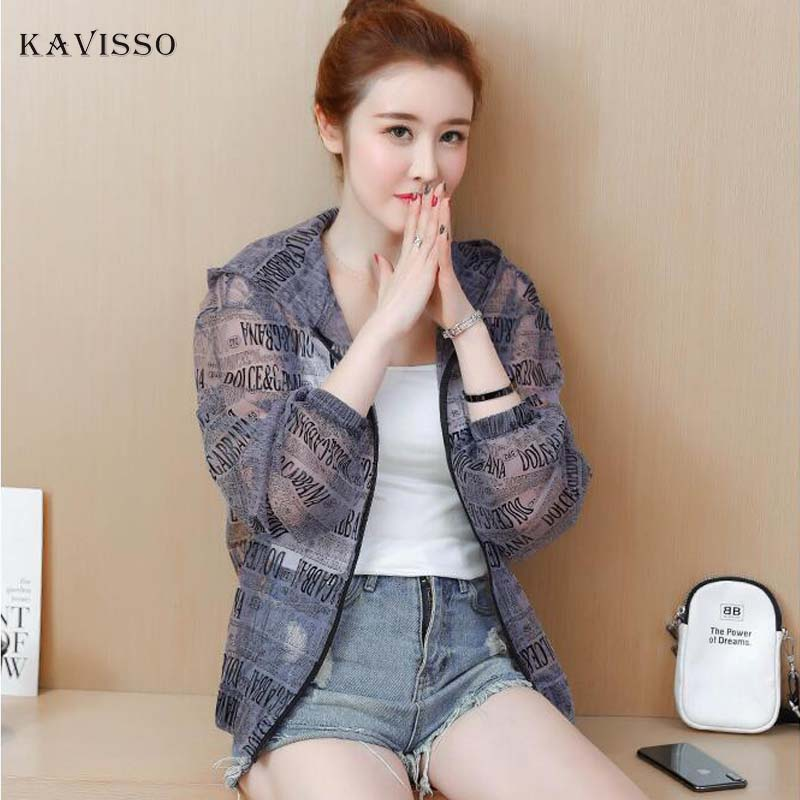 Fashion Thin   Basic     Jacket   Coat Women 2019 Summer Fashion Portrait Print Bomber   Jacket   Sunscreen Clothes jaqueta feminina