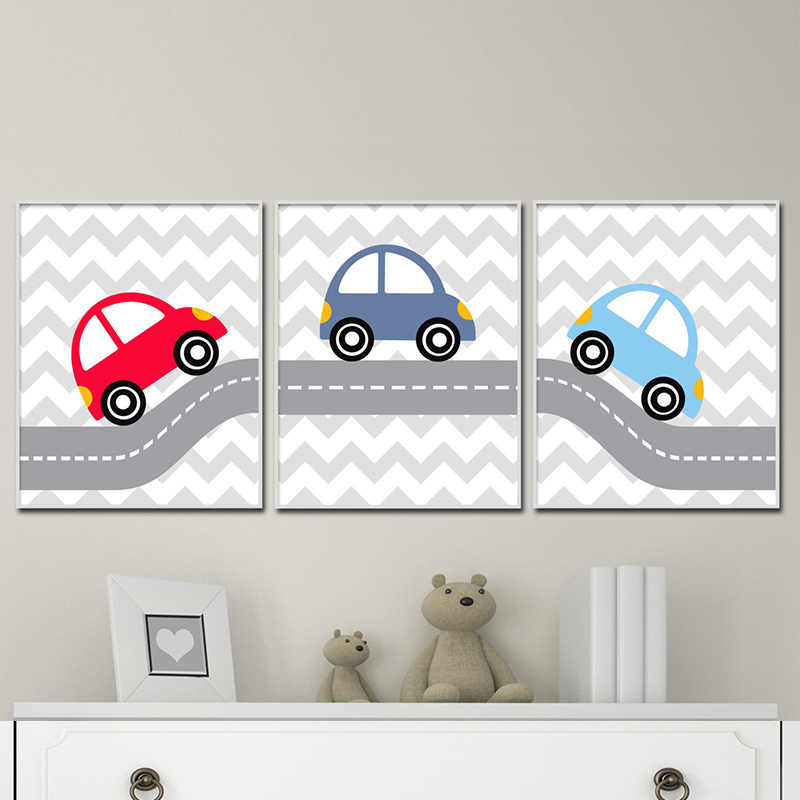 Kamar Anak Poster Kartun Kanvas Seni Bayi Nursery Dinding Gambar Mobil Cetakan Merah Biru Poster Warna-warni Mobil Lukisan untuk kamar Tidur
