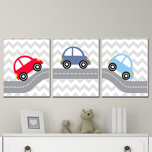 Kid Room Posters Cartoon Canvas Art Baby Boy Nursery Wall Pictures Car Prints Red Blue Posters Colorful Car Painting for Bedroom
