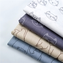 Cartoon Style Cat/Bear Printed Cotton Twill Fabric Body-Friendly Soft Pure Patchwork Quilting DIY Sewing Material