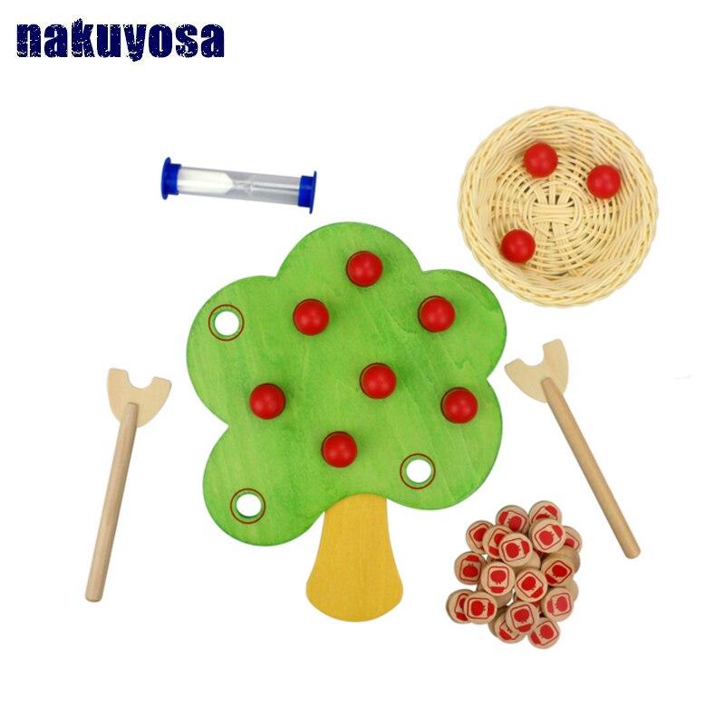 Enfants en bois jouet Montessori cueillette pomme jeu arbre fruitier pour les mains avec capacité Coordination jouet éducatif