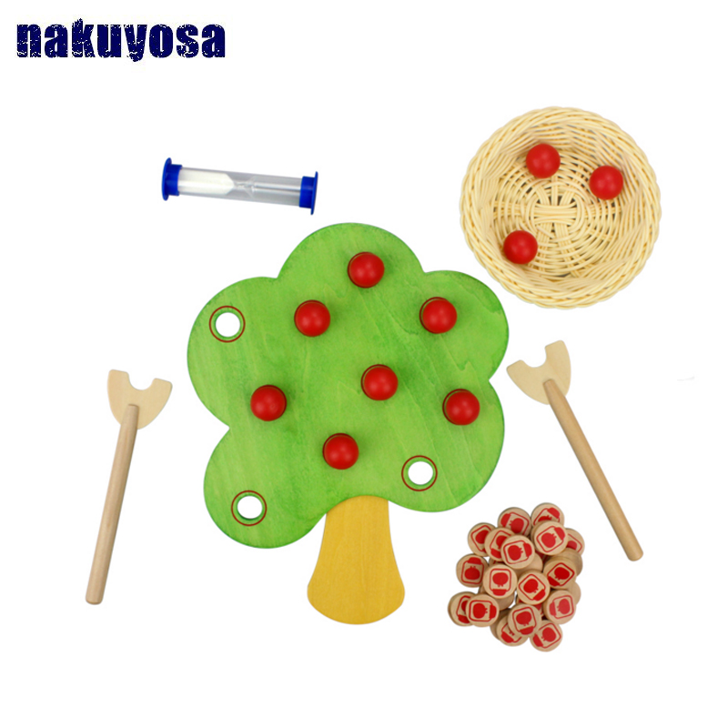 Kids Wooden toy Montessori Picking Apple Game Fruit Tree for Hands with ability  Coordination Educational Toy-in Model Building Kits from Toys & Hobbies    1