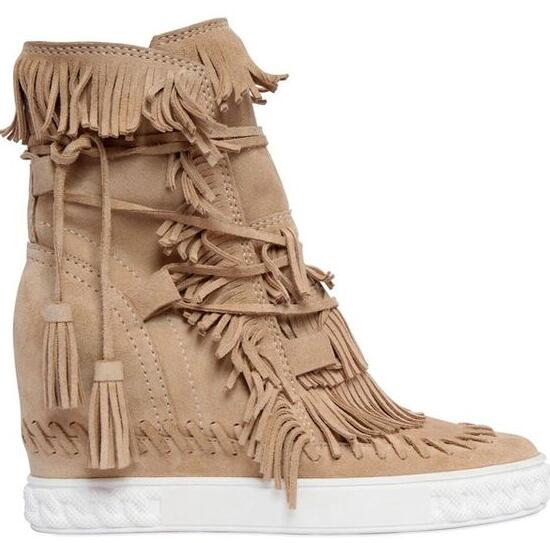 где купить Free Shipping 2017 New Arrival Fashion Women Candy Color 80mm Fringe Suede Height Increasing Wedge Ankle Boots Round Toe Boots по лучшей цене